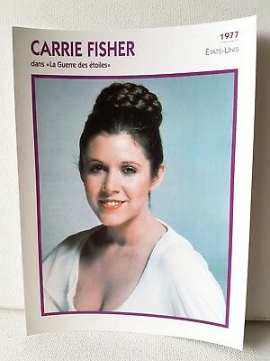 CARRIE FISHER 1977 Actor Movie FRENCH ATLAS PHOTO BIO CARD Star Wars