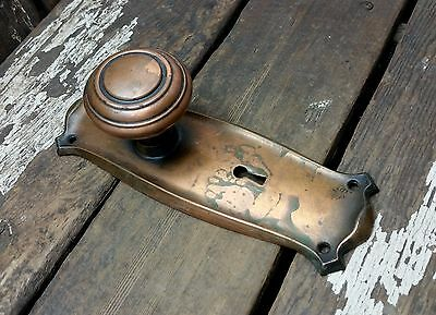 VTG Antique Old Shabby Rustic 1900s Copper Flash Door Knob & Metal Backplate *