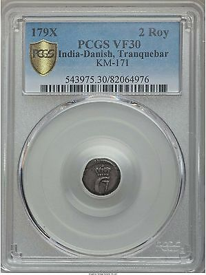 Danish India Tranquebar Christian VII 2 Royaliner 179X PCGS VF30 SCARCE