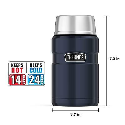 Thermos Stainless King 24 Ounce Food Jar Midnight Blue interior and exterior New