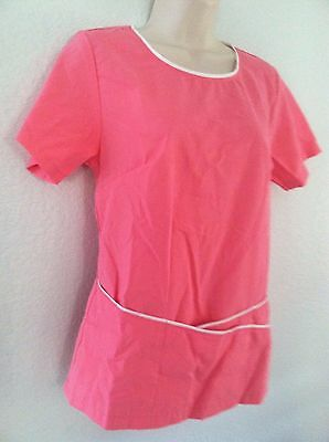 {SMALL} Women's Medical Uniform Scrub Top Mantra Rounded Neck Pink w/ White Trim