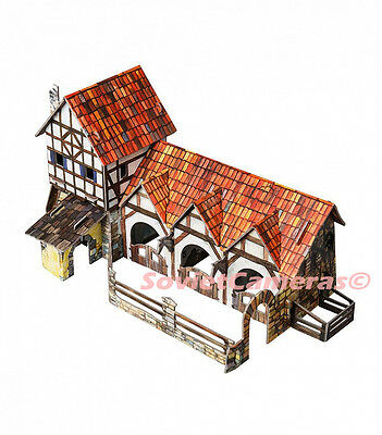 Building The Horse STABLE Medieval Town Wargame Scenery 3D Cardboard Model Kit