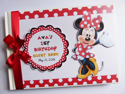 Personalised Disney Minnie Mouse Birthday Guest Book / Scrapbook - Any Design