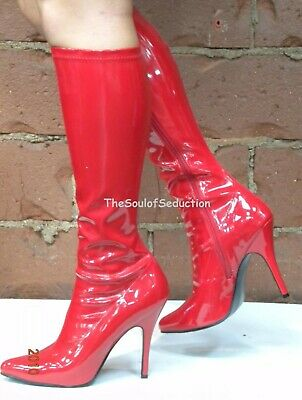 Sexy Red Stiletto Knee High Wonder Woman Costume Mens Drag Queen Boots Heels