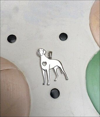 Great Dane with Heart Cutout Sterling Silver Charm - New - FREE SHIPPING