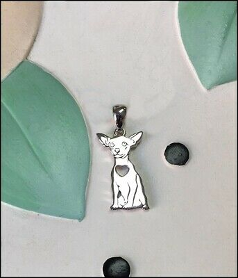 Chihuahua with Heart Cutout Sterling Silver Charm - New - FREE SHIPPING