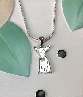 Chihuahua with Heart Cutout Sterling Silver Charm Necklace - New - FREE SHIPPING