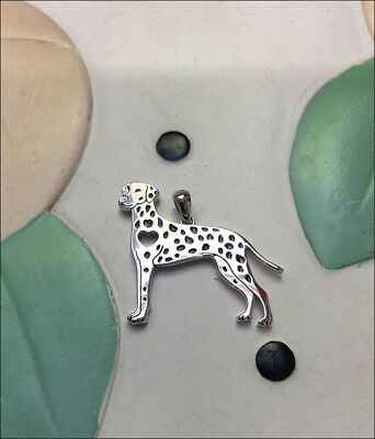 Dalmatian with Heart Cutout Sterling Silver Charm - New - FREE SHIPPING