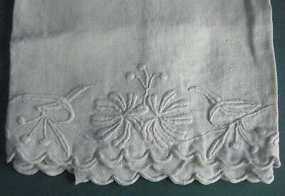 Antique Reverse Woven Damask English Hand Embroidered Cloth
