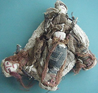 Antique Primitive Cloth Fetish Doll 4 Dolls In One. Brown And White Faces