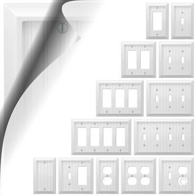 Wall Switch Plate Cover Cottage White Wood Outlet Toggle Decora Rocker Wallplate