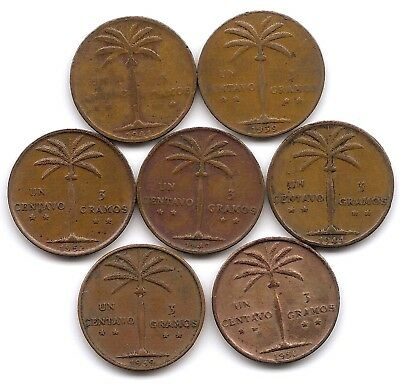 Dominican Republic Lot of 7 1 Centavo Coins 1939 1941 1944 1947 1952 1956 1959
