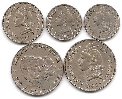 Dominican Republic Lot of 5 Coins 5, ,25 Centavos & 1/2 Peso 1937 - 1984