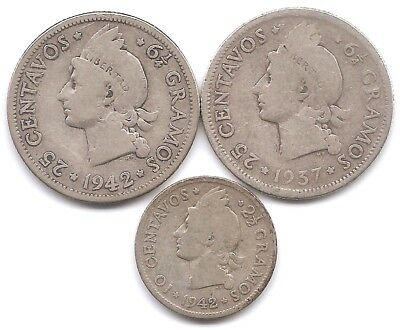 Dominican Republic Lot of 3 Silver Coins 1937 25 Centavos 1942 10 & 25 Centavos