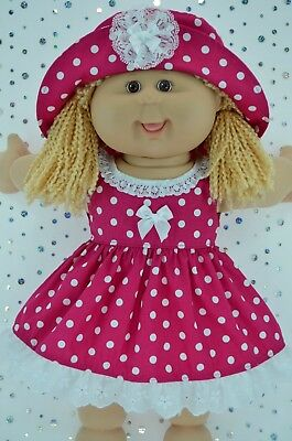 """Play n Wear Doll Clothes To Fit 16"""" Cabbage Patch  HOT PINK POLKA DOT DRESS~HAT"""