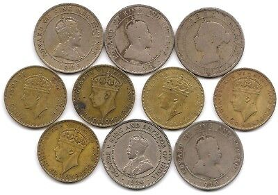 Jamaica Penny Lot of 10 1880 1903 1909 1910 1926 1938 1940 1942 1945 1950