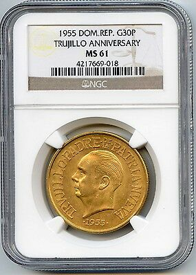 1955 Dominican Republic 30 Pesos Gold Coin. NGC Graded MS61. Lot #1718