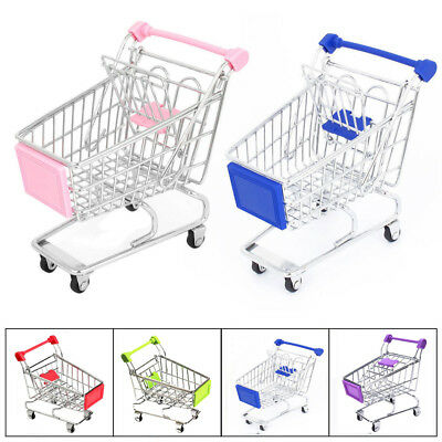 Mini Supermarket Handcart Shopping Cart Storage Trolley Kids Pretend Play Toy EE