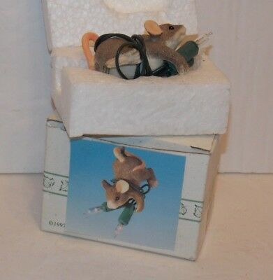 """CHARMING TAILS FIGURINE 86660 Fitz & Floyd DEAN GRIFF """"All Lit Up"""" lighted w/BOX"""