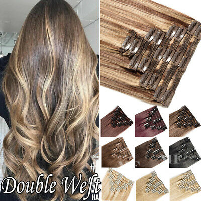 """Brazilian Extra Thick Clip in Remy Human Hair Extensions Double Weft 10""""-24"""" N67"""
