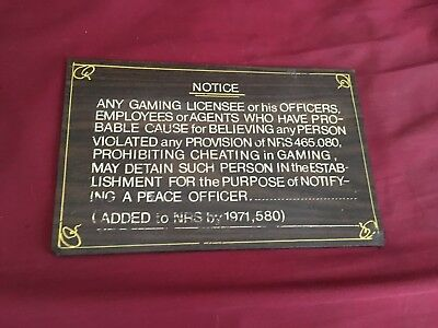 vintage rare las Vegas hotel casino waring gamblers sign check it out and read