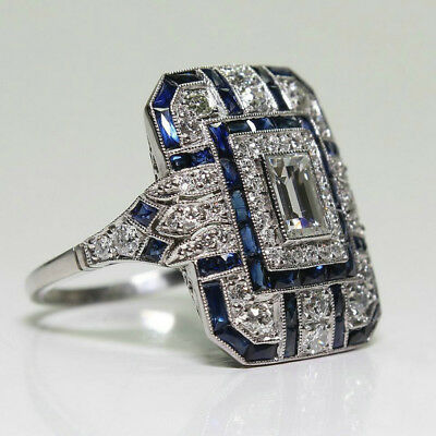 Antique Art Deco Large Jewelry Sterling Silver Blue Sapphire & Diamond Ring