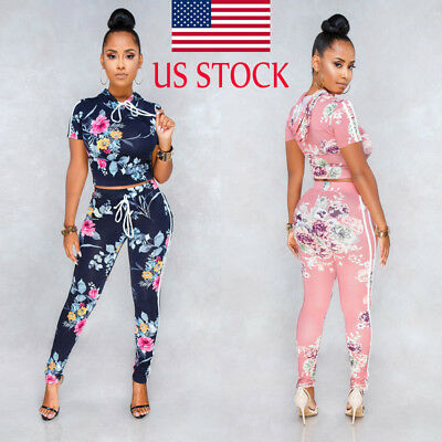 Women 2 Piece Outfits Blouse Floral Print Crop Top Pants Set Casual Jumpsuit Set