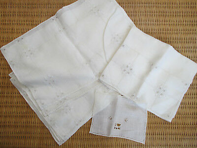 Table Runner Placemats White Linen Needle Weaving Hand Sewn Vintage Set of 10