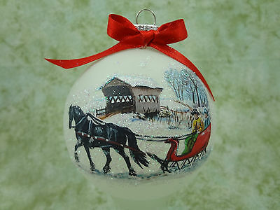 H057 Hand-made Christmas Ornament horse - fresian sleigh snow covered bridge