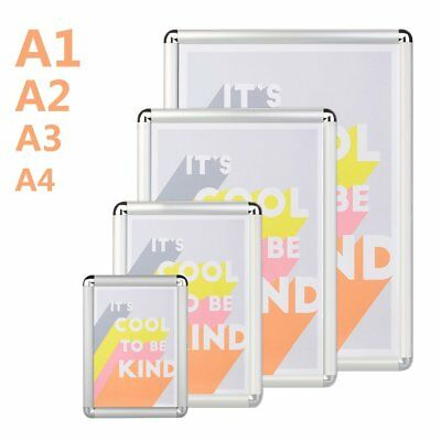 Aluminum Wall Poster Frame Snap Clip A1 A2 A3 A4 Sign Holder Elevator LOT TGB~