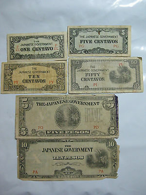 Lot of (6) Japanese Government Banknotes - WWII Occupation **RARE**