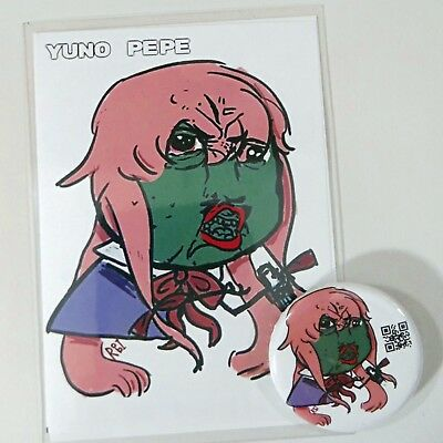 Physical Card, Button Badge & RarePepe Certified: 100 YUNOPEPE Virtual Cards