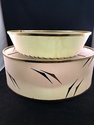 """1950s Vintage MCM Mid Century Modern Two Tiered Lampshade Atomic HUGE 17"""" Round"""