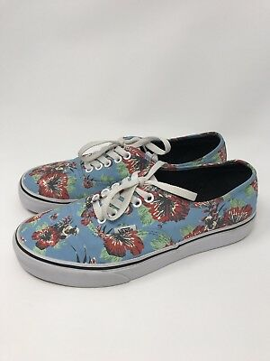 51c93555d8d379 Vans Star Wars Yoda Aloha Blue Floral Canvas Sport Skate Shoes Size Men s 7  ...