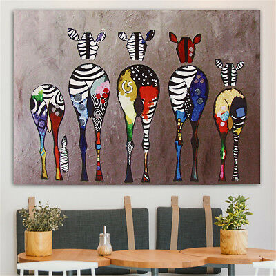 Unframed Colorful Animals Zebra Art Canvas Oil Painting Picture Print Home Decor