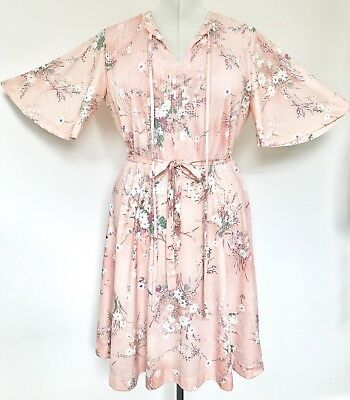 Vintage 1970s Apricot Pink Purple Green White Floral Belted Dress 16