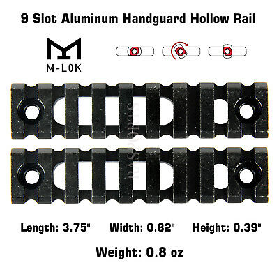 2PCS M-Lok Aluminum Handguard Hollow Rail 9 Slot Picatinny Weaver for MLOK