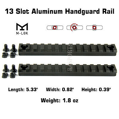 2PCS M-Lok Aluminum Handguard Rail 13 Slot Picatinny Weaver for MLOK