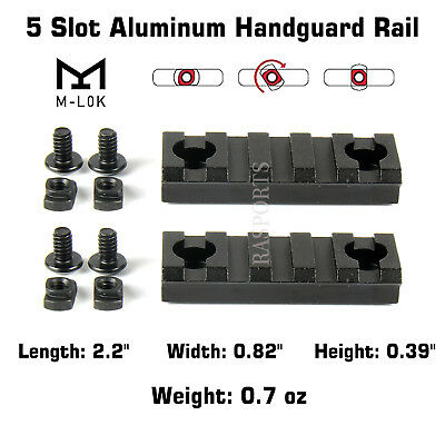 2PCS M-Lok Aluminum Handguard Rail 5 Slot Picatinny Weaver for MLOK