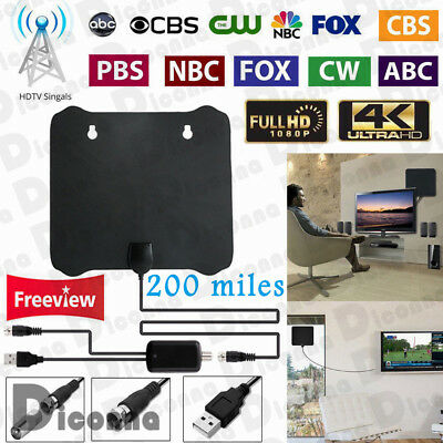 200 Mile Thin Flat Antenna HD High Def TV HDTV 1080P  4K DTV Sky Link 13ft Cable