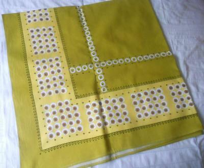 Vintage Retro 1950S 1960S Cotton Table Cloth  Yellow  Olive Green