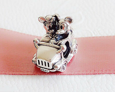 Authentic Pandora Silver Disney Mickey & Minnie Vintage Car Charm Bead 797174