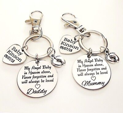 Loss of a baby personalised Keyring * SET * miscarriage Angel baby baby memorial