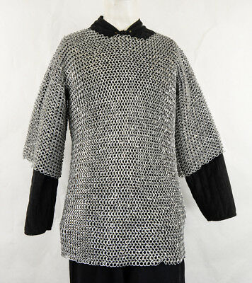 L ALUMINIUM ROUND RIVETED CHAIN MAIL SHIRT 9mm 16 guage MEDIEVAL CHAINMAIL