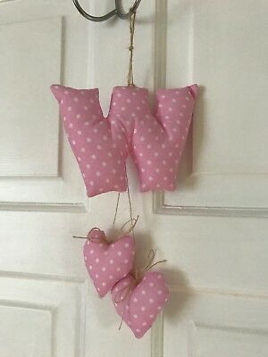 Fabric Letters Decorative Heart, Personalized, Nursery, Padded, Boy, Girl