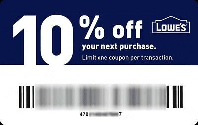 Lowes 10% off Instant Delivery Discount Online/InStore Exp 12/31
