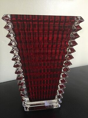 Baccarat Crystal Eye Red Small Rectangular Vase 75 Tall 75000