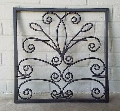 """Square Wall Candle Holder Sconce Decor Scroll Metal 16"""" Iron Black Tuscan Ornate"""