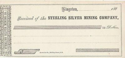 Unused   Receipt  1860 -  Sterling Silver Mining Company Kingston, Nevada