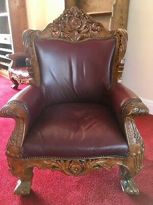 leather three piece suit with matching armchairs all in red Italian style